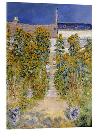 Akrylbillede  The Artist's Garden at Vetheuil - Claude Monet