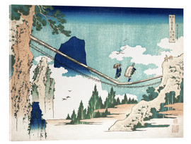 Akrylbillede  The Suspension Bridge on the Border of Hida and Etchu Provinces - Katsushika Hokusai