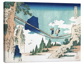 Lærredsbillede  The Suspension Bridge on the Border of Hida and Etchu Provinces - Katsushika Hokusai