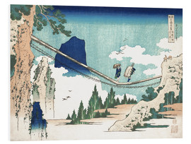 Print på skumplade  The Suspension Bridge on the Border of Hida and Etchu Provinces - Katsushika Hokusai