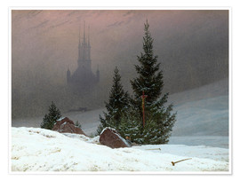 Premium-plakat  Winter Landscape with a Church - Caspar David Friedrich
