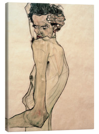 Lærredsbillede  Self Portrait with Arm Twisting above Head - Egon Schiele