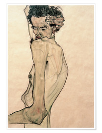 Premium-plakat  Self Portrait with Arm Twisting above Head - Egon Schiele