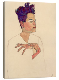 Lærredsbillede  Self Portrait with Hands on Chest - Egon Schiele