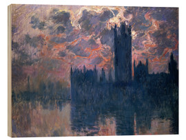 Print på træ  Houses of Parliament, Sunset - Claude Monet