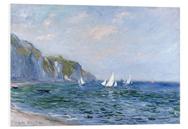 Print på skumplade  Cliffs and Sailboats at Pourville - Claude Monet