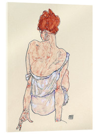 Akrylbillede  Seated woman in underwear - Egon Schiele