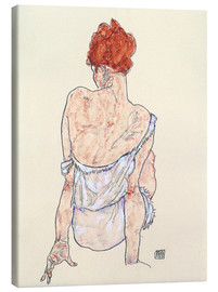 Lærredsbillede  Seated woman in underwear - Egon Schiele