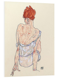 Print på skumplade  Seated woman in underwear - Egon Schiele