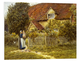Print på skumplade  Mother and child on lodge - Helen Allingham