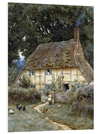 Print på skumplade  On the Brook Road, near Witley - Helen Allingham