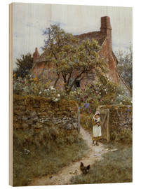 Print på træ  The Black Kitten - Helen Allingham