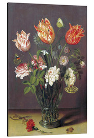 Print på aluminium  Tulips with other Flowers in a Glass on a Table - Jan Brueghel d.Ä.