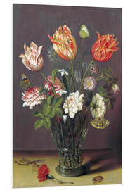 Print på skumplade  Tulips with other Flowers in a Glass on a Table - Jan Brueghel d.Ä.