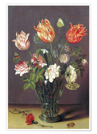 Premium-plakat Tulips with other Flowers in a Glass on a Table