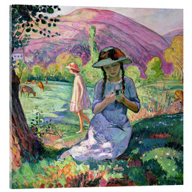 Akrylbillede  Young Girl picking Flowers, 1910 - Henri Lebasque