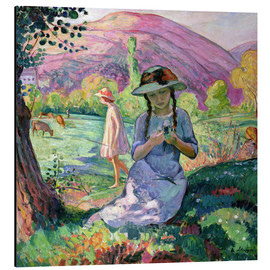 Print på aluminium  Young Girl picking Flowers, 1910 - Henri Lebasque