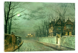 Akrylbillede  Old English House, Moonlight after Rain - John Atkinson Grimshaw