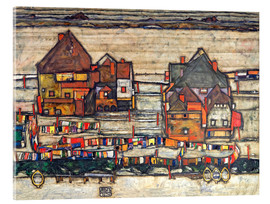 Akrylbillede  Houses with Laundry (Seeburg) - Egon Schiele