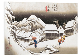 Print på skumplade  Evening Snow at Kanbara - Utagawa Hiroshige