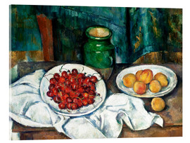 Akrylbillede  Cherries and peaches - Paul Cézanne