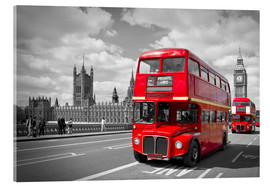 Akrylbillede  Westminster Bridge and Red Buses - Melanie Viola