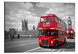 Print på aluminium  Westminster Bridge and Red Buses - Melanie Viola