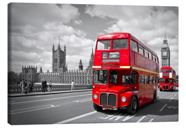 Lærredsbillede  Westminster Bridge and Red Buses - Melanie Viola
