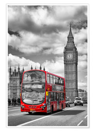 Premium-plakat  Big Ben and Red Bus - Melanie Viola