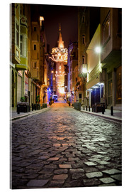Akrylbillede  The famous Galata-Tower at night (Istanbul/Turkey) - gn fotografie