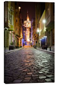 Lærredsbillede  The famous Galata-Tower at night (Istanbul/Turkey) - gn fotografie