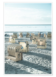 Premium-plakat beach chairs at the beach in Duhnen (North sea/Germany)
