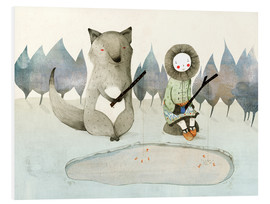 Print på skumplade  The little Inuit girl and the wolf - Judith Loske