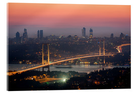 Akrylbillede  Bosporus-Bridge at Night (Istanbul / Turkey) - gn fotografie