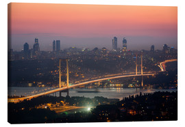 Lærredsbillede  Bosporus-Bridge at Night (Istanbul / Turkey) - gn fotografie