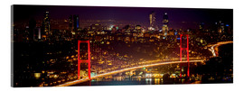 Akrylbillede  Bosporus-Bridge at night - red (Istanbul / Turkey) - gn fotografie