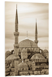 Print på skumplade  the blue mosque in sepia (Istanbul - Turkey) - gn fotografie
