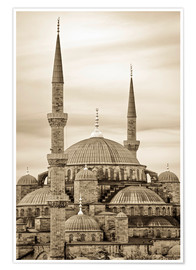 Premium-plakat  the blue mosque in sepia (Istanbul - Turkey) - gn fotografie