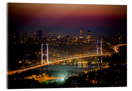 Akrylbillede  Bosporus-Bridge at night - pink (Istanbul / Turkey) - gn fotografie