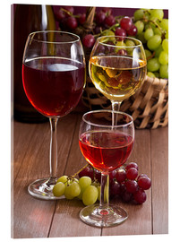 Akrylbillede  Wine in glasses - Edith Albuschat