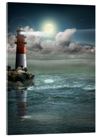 Akrylbillede  Lighthouse by moonlight - Monika Jüngling