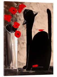 Akrylbillede  BLACK CAT WITH POPPIES - JIEL
