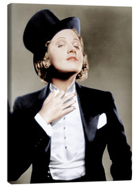 Lærredsbillede  Marlene Dietrich with a suit and cylinder