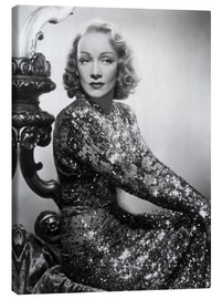 Lærredsbillede  Marlene Dietrich in a sequined dress