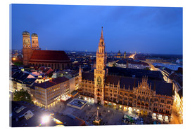 Akrylbillede  Church of our Lady and the new town hall in Munich at night - Buellom