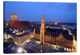 Lærredsbillede  Church of our Lady and the new town hall in Munich at night - Buellom