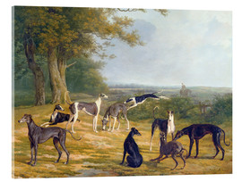 Akrylbillede  Nine Greyhounds on a landscape - Jacques Laurent Agasse