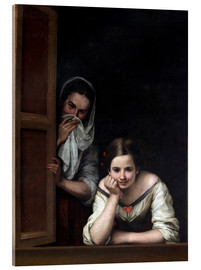 Akrylbillede  Two Women at a Window - Bartolome Esteban Murillo
