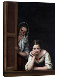 Lærredsbillede  Two Women at a Window - Bartolome Esteban Murillo