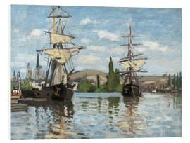Print på skumplade  Ships on the Seine at Rouen - Claude Monet